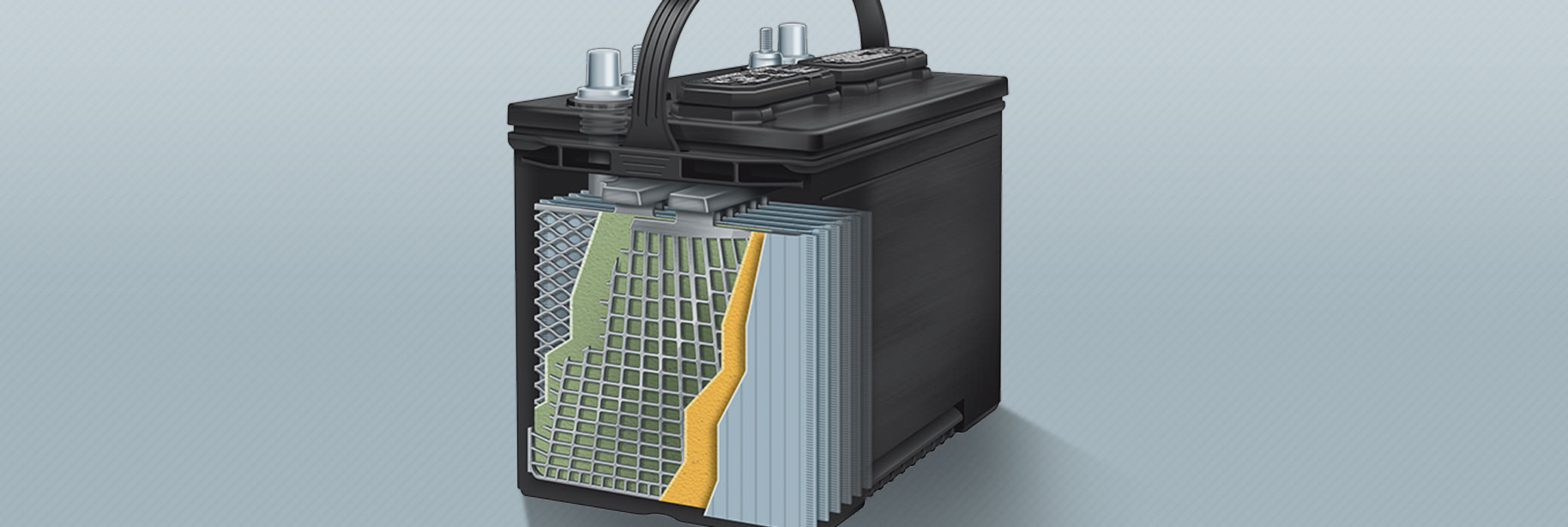 The conventional flooded lead-acid battery is designed to deliver quick bursts of power